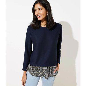 LOFT Floral Mixed Media Sweatshirt Pullover Top XL